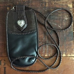Brighton Black leather eyeglass case with strap